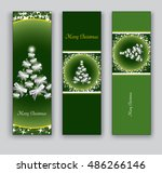 christmas bookmarks or banners. | Shutterstock .eps vector #486266146