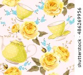 seamless teapots  cups and... | Shutterstock .eps vector #486269956