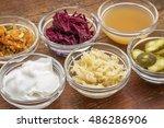 a sampler of fermented food... | Shutterstock . vector #486286906