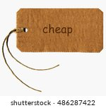 cheap tag with string isolated... | Shutterstock . vector #486287422