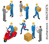 delivery isometric characters... | Shutterstock .eps vector #486292876