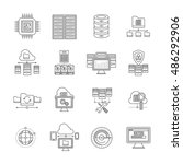 datacenter linear icons set... | Shutterstock .eps vector #486292906