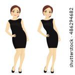 fat and slim woman  before and...   Shutterstock .eps vector #486294682