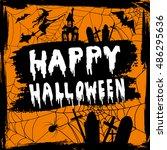 happy halloween hanwritten | Shutterstock .eps vector #486295636