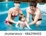 family swimming in the pool. | Shutterstock . vector #486298402