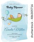 lovely baby boy shower card ... | Shutterstock .eps vector #486305716