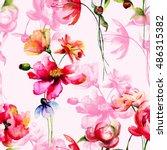 seamless wallpaper with wild... | Shutterstock . vector #486315382