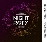 night party poster. shiny... | Shutterstock .eps vector #486325528