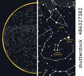 night sky with constellations | Shutterstock .eps vector #486327382