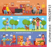 three flat horizontal family... | Shutterstock . vector #486328915