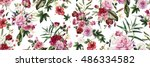 Stock photo seamless floral pattern with flowers watercolor 486334582
