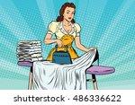 the hotel maid iron irons linen ... | Shutterstock .eps vector #486336622