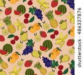 background of fruit  pineapple  ... | Shutterstock .eps vector #486337876