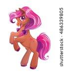 cute cartoon little brown horse ... | Shutterstock .eps vector #486339805