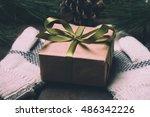 christmass gift box and mittens ... | Shutterstock . vector #486342226