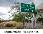 Signpost at the us mexican...