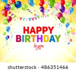 yellow birthday card with... | Shutterstock .eps vector #486351466