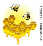 bees and honey honeycombs | Shutterstock .eps vector #48635371
