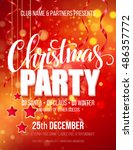 merry christmas party poster.... | Shutterstock .eps vector #486357772