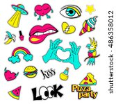 fashion patch badges. big set.... | Shutterstock .eps vector #486358012