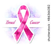 pink ribbon  breast cancer ... | Shutterstock .eps vector #486366382
