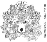 fox in flowers coloring page.... | Shutterstock .eps vector #486374548