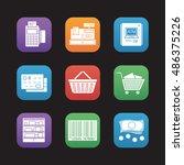 supermarket flat design icons...