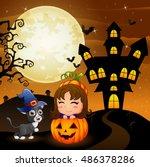 halloween background with...   Shutterstock .eps vector #486378286