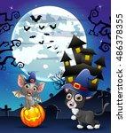 halloween background with child ... | Shutterstock .eps vector #486378355