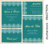 set of wedding cards with... | Shutterstock .eps vector #486379096