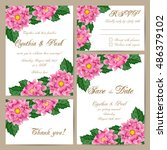 set of wedding cards with... | Shutterstock .eps vector #486379102