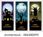 three halloween banners with... | Shutterstock .eps vector #486380095