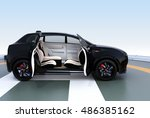black electric suv parking on... | Shutterstock . vector #486385162