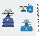 camping stoves   editable... | Shutterstock .eps vector #486388915