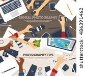 photography equipment with... | Shutterstock .eps vector #486391462