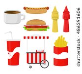 set for fast food. coffee... | Shutterstock .eps vector #486391606