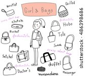 cute girl with various fashion... | Shutterstock .eps vector #486398686