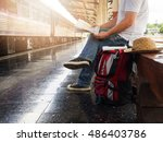 asian traveler man with... | Shutterstock . vector #486403786