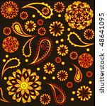 colorful paisley background ... | Shutterstock .eps vector #48641095