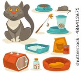 Stock vector cat accessories set pet supplies food toys mouse bowl and box toilet and equipment for 486412675