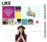 Small photo of Like Love Share Agree Follow Enjoy Ideas Concept