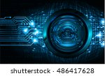 future technology  blue silver... | Shutterstock .eps vector #486417628