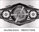 future technology  black silver ... | Shutterstock .eps vector #486417646