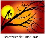 halloween evening vector... | Shutterstock .eps vector #486420358