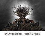 halloween haunted creepy tree... | Shutterstock . vector #486427588