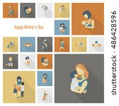 happy mothers day simple flat... | Shutterstock . vector #486428596