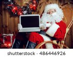 modern santa claus at his... | Shutterstock . vector #486446926