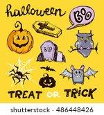 halloween hand drawn characters ... | Shutterstock .eps vector #486448426