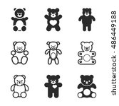 teddy bear vector icons. simple ... | Shutterstock .eps vector #486449188