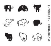 elephant vector icons. simple...